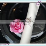 YHA#101 crystal metal napkin ring - polyester banquet wedding wholesale table cloth cover chair cover sash band