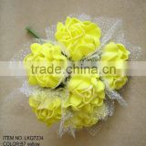 Yellow Artificial Silk Flowers peony 6 heads Wedding bridesmaids Bouquet