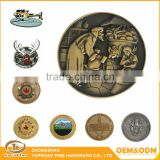 Free Sample Factory Direct Cheap Custom Antique Silver/Gold Brass Challenge Coin Metallic Souvenir Metal Coin