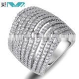 Sterling Silver Women's High Polish Micro Pave Wedding Band Ring With Cubic Zirconia CZ