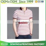 Men's 100% Cotton Casual No Logo Polo Shirts Custom Sport Pink Striped Polo T Shirt made in China