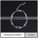 Fashion blue glass jewelry bracelet brass bangle bracelet with wholesale price