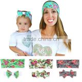Mommy and Me Matching Headbands Photo Prop Gift for Mom and Baby Adult And Baby Rabbit Ears Elastic Cloth Bowknot Headband