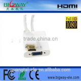 factory price HDMI to vga converter cable adapter with chipset for pc dvd to hdtv projector hdmi2vga cable 25cm