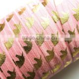 "5/8"" Fold Over Elastic Gold Unicorn on Carnation Pink Pattern Metallic Printed elastic band for underwear trousers"