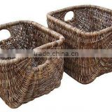 2012 nice style/2pcs four-cornered shape planter/solid rattan frame/water hyacinth/natural material planter/basket