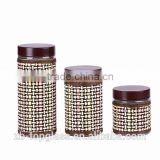 decorative 3 pieces glass canister set with straw