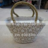 natural seagrass handmade fashion lace bag with long handle