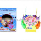 wholesale kids battery operated musical plastic fishing game wtih 15 small fish