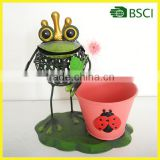 Hot selling funny frog with gold crown planter for garden decoration