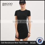 Fashion Custom Baseball Tee Dress Cotton Spandex Curved Hem Short Sleeve Striped Side Black T Shirt Dress