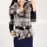 genuine rabbit fur knit vest with fox fur collar/#00V25