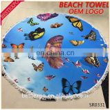 wholesale butterfly print custom logo blanket not fade turkish microfiber large round beach towel