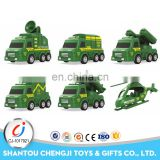 Military cheap promotional plastic pull back toy army trucks