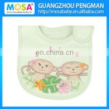 100% Embroidered Monkey Waterproof Cotton Baby Bibs
