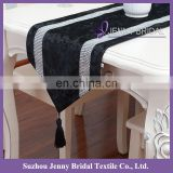 TR039E silver sparkle diamante decoration black embroidered velvet fabric dining table runner oriental