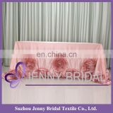 TC107#115&48 rosette table skirt different designs of table skirting for birthday wedding table skirting designs