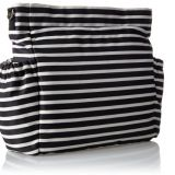 Black and white strip diaper bag with pockets outside