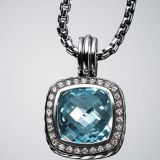 925 Silver Jewelry 14mm Hampton Blue Topaz Moonlight Ice Enhancer(P-030)