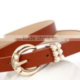 Woman Fashion belt with pearl bead attached buckle