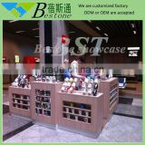 Modern shopping mall used cups kiosk for sale, retail wooden cup rack