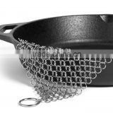 7x7 Inch Premium Stainless Steel Chainmail Scrubber, Cast Iron Cleaner