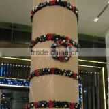 Shopping mall atrium christmas wreath and garland with ball decorations
