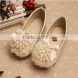 2015 Spring fashion sweet series girl princess shoes kids pearls lace shoes for school wear