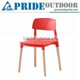 Colorful Modern Outdoor Plastic Chair With Wood Legs Plastic Office Chair Simple Chair Plastic                                                                         Quality Choice