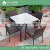 China Wholesale 4 Seaters Rattan Wicker Used Restaurant Furniture Outdoor Dinning Table and Chair Sets