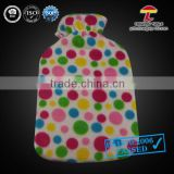 2000ml MTTP hot water bag with fleece cover lollipop colourful small dots