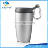 Portable double wall sport vacuum stainless steel travel mug with carabiner
