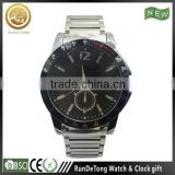 Silvery case black bezel stainless steel band 4 hands calendar tachymeter luxury watch man