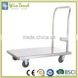 Stainless steel hand trolley cart, heavy duty platform trolley, kitchen platform hand truck