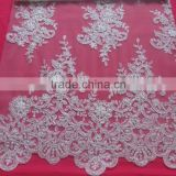 ivory corded beaded bridal lace for wedding dress guangzhou wholesale/Make-to-Order Supply Type and 100% Polyester sequin/fabric