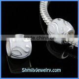 Wholesale Leaves Pattern Sterling Silver White Enamel Beads BES43B