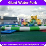 2016 Giant inflatable water park with long water slide, Giant Inflatable Slide With Pool For Sale