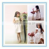 Latest A-Line Girly Sleeves White Satin Collar Knee Length Custom Made Flower Girl Dresses for Wedding 2015(DMTU-FG14)