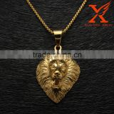 316L Stainless Steel Gold Roar Africa Lion King Head Stong Mens America Gold Pendant Different Types Of Pendant Chains Jewelry
