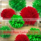 "10"" Red and Green tissue paper pom poms flower balls for Christmas party decoration"