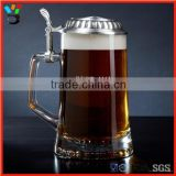Customized Logo Glass Mug German Beer Stein with Metal Lid
