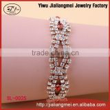 2015 new arrived colorful pave shiny crystal bridesmaid rhinestone chain bracelet for girls