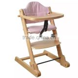 Solid Beech wood portable baby high chair