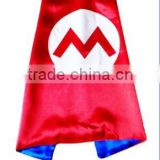 Double Layer 70cm Satin Kids Super Mario Bros Costume cape and masks