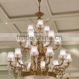 Luxury Crystal & Bronze Pendant light, Elegant Design Brass Chandelier Crystal Drop, Noble Hotel Ceiling Lamp