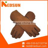 Brown top quality cow split full palm leather gloves for welding