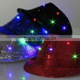 Hot-selling Factory Cheap Christmas Events Party Supplies LED Flashlight Colorful Hat Luminous Jazz Hat Sequin LED Hat
