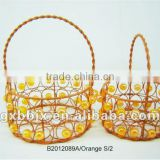 Set of Two Orange Round Iron/Plastic bead gift basket for home decoration