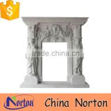 italian lady statue decorative carrara white marble fireplace NTMF-F852S