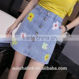 japanese style beautiful girl high waist embriodery mini jean skirt